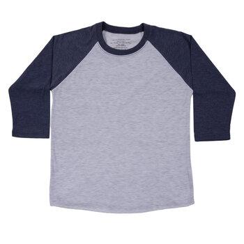 Heather Gray & Navy Youth Baseball Shirt - Small