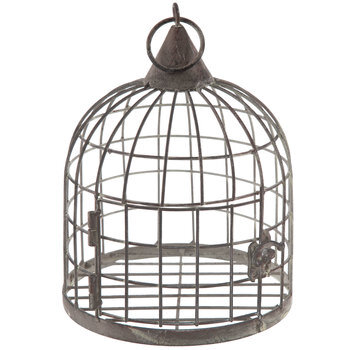 Gray Distressed Metal Bird Cage
