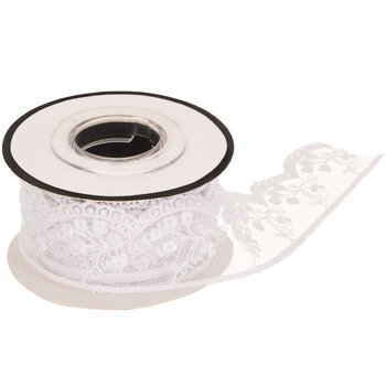 White Scalloped Floral Tulle Trim - 3/16""