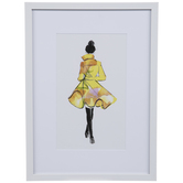 Lady In Yellow Dress Framed Wall Decor