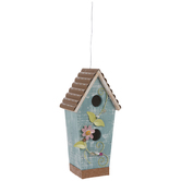 Distressed Blue Birdhouse With Ivy