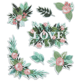 Pink Roses Puffy Stickers