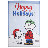 Happy Holidays Charlie Brown Garden Flag