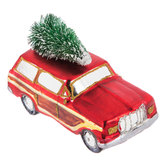 Red Vintage SUV With Tree Ornament