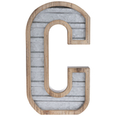 Galvanized Metal Letter Wall Decor - C