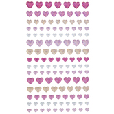 Pink, Gold & Silver Heart Shimmer Stickers