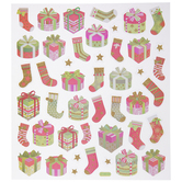 Presents & Stockings Glitter Stickers