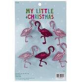 Mini Pink Glitter Flamingo Ornaments