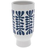 White & Blue Leafy Vase