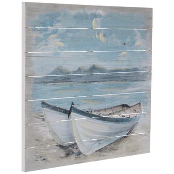Boats On Beach Wood Wall Decor