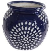 Blue & White Sunburst Flower Pot
