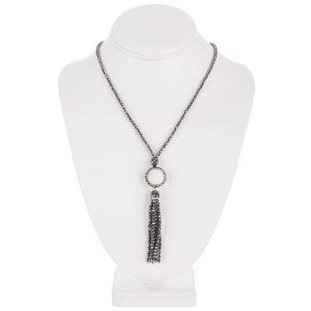 Plated Hematite Stone Tassel Necklace