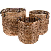 Natural & Black Cylinder Rattan Basket Set
