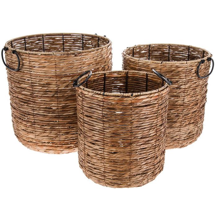 Natural Black Cylinder Rattan Basket Set Hobby Lobby 1005826