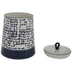 White & Blue Distressed Check Canister - Large