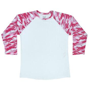 Pink Camo Sleeve Adult Baseball T-Shirt - Extra Large