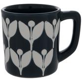 Navy & White Leaf Mug