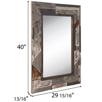 Distressed Gray & Aqua Geometric Wood Wall Mirror