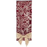 Burgundy Jacquard Table Runner With Bows