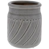 Gray Round Cracked Glaze Pot