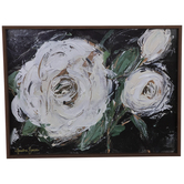White Painted Roses Wood Wall Decor