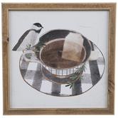 Bird On Tea Cup Wood Wall Decor