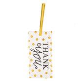 White & Gold Polka Dot Thank You Tags