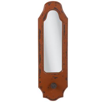 Orange Distressed Wood Wall Mirror