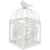 White Floral Metal Bird Cage