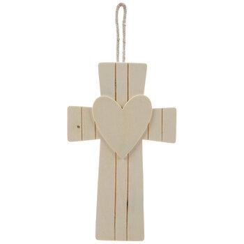 Cross & Heart Wood Ornaments