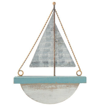 Blue Sailboat Metal Wall Decor