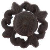 Brown Metal Knob On Flourish Base
