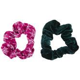 Green Velvet & Pink Snowflake Scrunchies