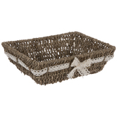 Seagrass Basket With Lace Bow