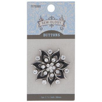 Silver & Black Rhinestone Flower Button - 39mm