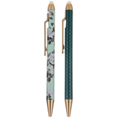 Green Floral & Dot Erasable Pens - 2 Piece Set