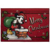 Merry Christmas Mickey In Chimney Rug