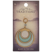 Teal Ombre Wood Circle Pendant