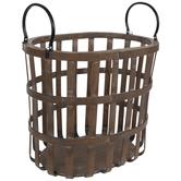 Rustic Oval Wood Basket