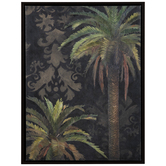 Palm Trees Damask Canvas Wall Decor