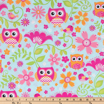 Chevron Birds & Floral Apparel Fabric
