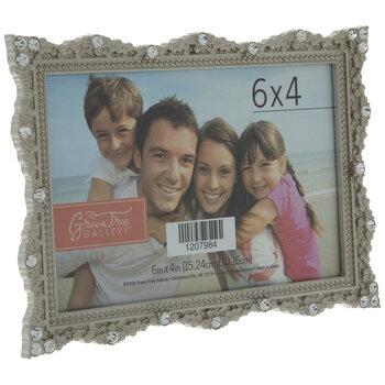 """Silver Rhinestone Metal Frame - 6"""" x 4"""""""