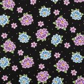 Black, Purple & Blue Floral & Dots Cotton Calico Fabric