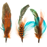"Bright Natural Feather Picks With Loops - 6"" - 7"""