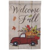 Welcome Fall Truck Garden Flag