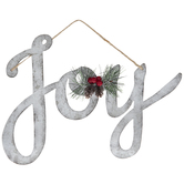 Joy Galvanized Metal Wreath Embellishment