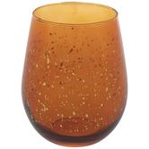 Orange Splatter Stemless Glass