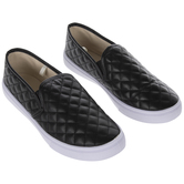Black Quilted Ladies' Sneakers