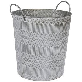 Silver & White Distressed Diamond Metal Planter