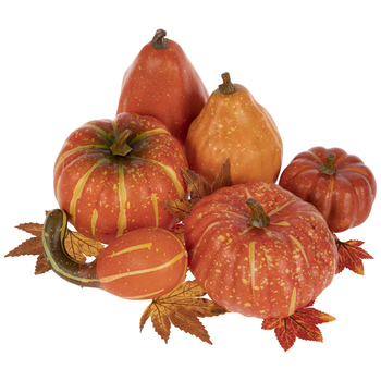 Orange Pumpkins, Gourds & Leaves